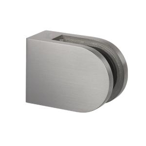 Glasklemmhalter aus Edelstahl, halbrund 45x63x28 mm  gerader Anschluss - Produktansicht