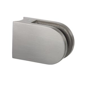 Glasklemmhalter aus Edelstahl, halbrund 45x63x28 mm  für Rundrohr-Anschluss - Produktansicht