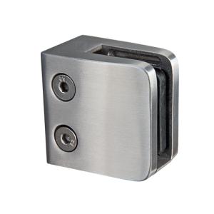 Glasklemmhalter aus Edelstahl, viereckig 53x53 mm, gerader Anschluss - Produktansicht