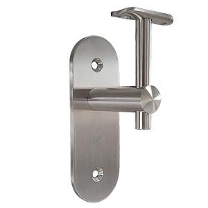 Handlaufhalter für Handlauf 40-42 mm, mit langer Wandplatte, Anschraubplatte und Senkbohrungen 8,5 mm zur Befestigung an der Wand