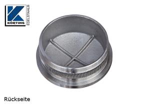 Rohrstopfen mit Rändelung, gewölbt, für Edelstahlrohr 42,4x2,0 mm, Guss - Werkstoff 14305, Oberfläche fein gedreht - Rückseite