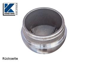 Rohrstopfen mit Rändelung,  halbrund, für Edelstahlrohr 42,4x2,0 mm, Guss Werkstoff 1.4301, Oberfläche fein gedreht - Rückseite