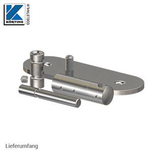 Handlaufhalter für Handlauf aus Edelstahl, D25 mit Handlaufaufträger Rd14 und langer Wandplatte - Lieferumfang