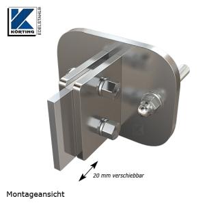 Edelstahl Ankerplatte 150x120x10 mm, um 20 mm verstellbar für Überbrückung Regenrinne