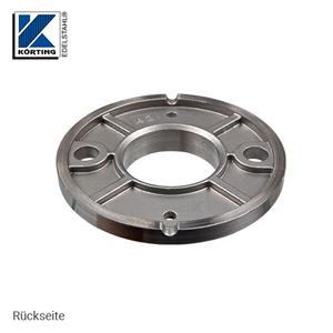 Rückseite der Edelstahl Ronde 100x8 mm aus Guss mit Versteifungsrippen und Bund zum rückseitigem Verschweißen von Edelstahlrohr 42,4 mm