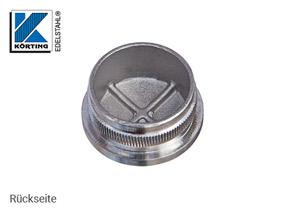 Endkappe leicht gewölbt aus Hohlguss mit Rändelung für Edelstahlrohr 33,7x2,0 mm - Rückseite
