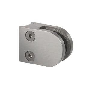 Glasklemmhalter aus Edelstahl, halbrund 40x50x28 mm Rundrohr-Anschluss - Produktansicht Verschraubung