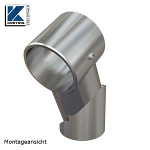 Handlaufstütze zum Verschweißen mit Rohr 42,4 - mit Gelenk und Trägerring zur Durchsteckmontage eines Handlaufes 42,4 mm - Neigung um 39° möglich