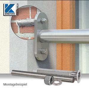 Wandplatte 160x60x10 mm für Rohr 42,4 mm - Montageansicht Brüststungsrohr in Fensterlaibung