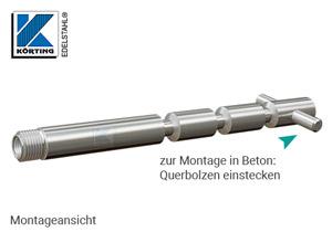 Edelstahl Gewindeanker mit Innengewinden M10 zur Montage von Geländerpfosten - mit Querbolzen zur Verankerung durch Einbetonieren