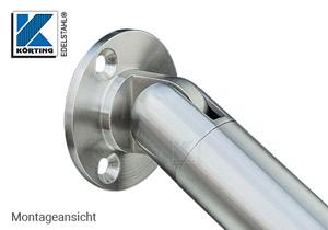 Wandanschluss - Ronde aus Edelstahl mit Gelenk - Montageansicht - Handlauf Anschluss abwärts