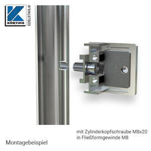 Glasklemmen Montage mit Zylinderkopfschraube M8x20 an Geländerpfosten in Fließformgewinde M8