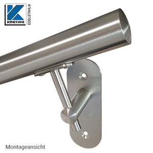 Handlaufhalter mit langer Wandplatte - Montageansicht - Handlauf geneigt