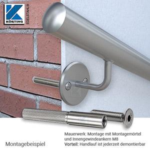 Handlaufhalter gebogen, zum Anschschweißen, Ronde mit Fase und überdrehter Oberfläche am gebogenen Handlaufträger verschraubt - Montagemöglichkeit an Mauerwerk
