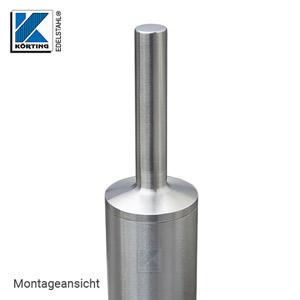 Handlaufstütze aus Edelstahl Guss zum Einkleben in Rohr 42,4x2,0 mm - Montageansicht