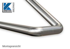 Edelstahl Rohrbogen 90° - Montageansicht Geländerhandlauf auf Podest