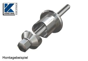 Montagereihenfolge Pfostenhalter - Distanzstück - Edelstahlronde - Gewindebolzen M10 - flache Hutmutter M10 - Unterlegscheibe M10