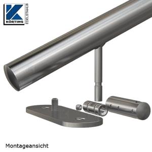 Handlaufhalter für Handlauf aus Edelstahl, mit langer Wandplatte und Durchgangsborhungen 11 mm - Handlaufträger wird verschweißt