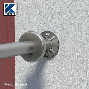 Edelstahl Ronde 100x8 mm mit Gummiring - Montageansicht Handlauf-Wandbefestigung