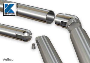 Rohrbogen mit Gelenk 0°-90° zum Einkleben in Rohr 42,4x2,0 mm - Explosionsdarstellung
