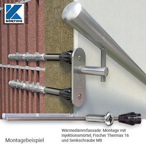 Handlaufhalter für Handlauf aus Edelstahl, mit langer Wandplatte mit Senkbohrungen für 8mm Senkschrauben- Montagemöglichkeit an Wärmedämmfassade mit Thermax16