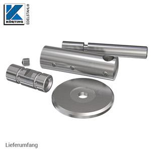 Handlaufhalter mit langen stabilen Innenteil, Ronde und Handlaufträger zum Anschweißen - Lieferumfang