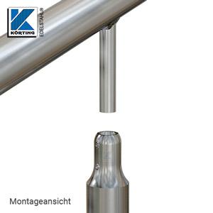 Momntage - Explosionsdarstellung - der am Handlauf verschweißte Handlaufträger wird in die Bohrung der Handlaufstütze gesteckt und mit den Stiftschrauben arretiert