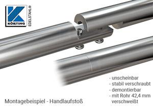 Rohrverschraubung aus Edelstahl für Rorh 42,4 mm zur Verwendung als lösbarer Handlaufstoß