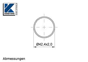 Edelstahlrohr 42,4x2,0 mm Werkstoff 1.4301 Korn 600 geschliffen - Maßzeichnung