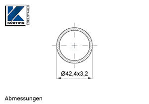 Edelstahlrohr 42,4x3,2 mm Werkstoff 1.4301 Korn 600 geschliffen - Maßzeichnung