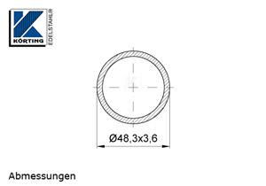 Edelstahlrohr 48,3x3,6 mm Werkstoff 1.4301 Korn 600 geschliffen - Maßzeichnung