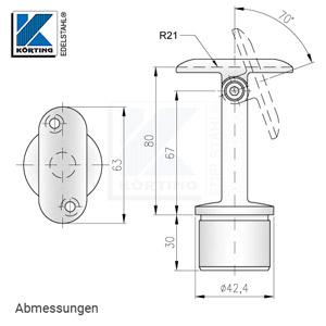 Abmessungen - Handlaufstütze mit Gelenk und Anschraubplatte aus Guss zum Einkleben in Edelstahlrohr 42,4x2,0 mm