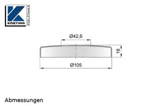 Abmessungen Edelstahl Abdeckrosette 105x18 mm mit Loch 42,6 mm - flache Ausführung