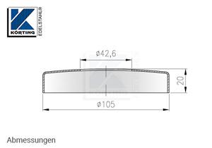 Abmessungen Edelstahl Abdeckrosette 105x20 mm mit Loch 42,6 mm für Edelstahlronden mit Versteifungsrippen bei Verwendung flacher Sechkantmuttern