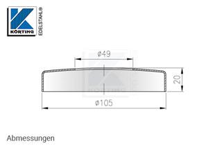 Abmessungen Edelstahl Abdeckrosette 105x20 mm mit Loch 49 mm für Edelstahlronden mit Versteifungsrippen bei Verwendung flacher Sechkantmuttern