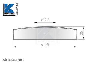 Abmessungen Edelstahl Abdeckrosette 125x25 mm mit Loch 42,6 mm