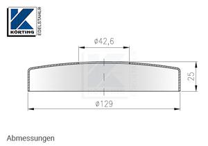 Abmessungen Edelstahl Abdeckrosette 129x25 mm mit Loch 42,6 mm für Edelstahlronden 125x8 mm bei Verwendung von Sechkantmuttern