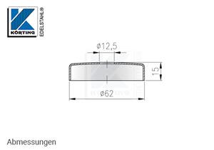 Edelstahl Abdeckrosette 62x15 mm mit Loch 12 mm - Abmessungen