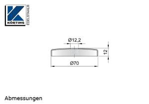 Edelstahlrosette 70x12 mm für Handlaufhalter mit einer Edelstahlronde 66x4 mm