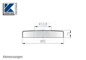 Edelstahl Abdeckrosette 85x15 mm mit Loch 33,8 mm - Abmessungen