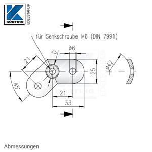 Anschraubplatte für eine 45°-Ecke - Abmessungen