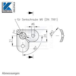 Anschraubplatte für eine 90°-Ecke - Abmessungen
