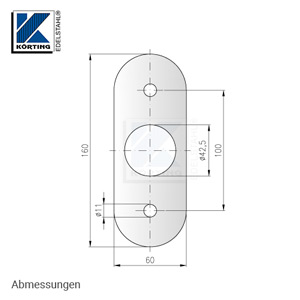 Edelstahl Wandplatte 160x60x10 mm - Abmessungen