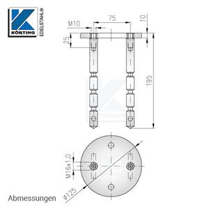 Abmessungen des Edelstahl Bodenankers mit Befestigungsabstand 75 mm