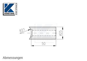 Distanzstück massiv, Länge 50 mm für Rohr 42,4 mm - Abmessungen