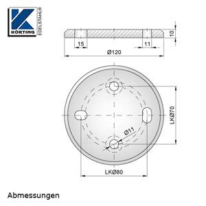 Abmessungen Edelstahl Ronde 120x10 mm