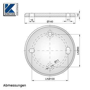 Abmessungen Edelstahl Ronde 140x10 mm