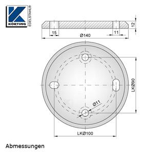 Abmessungen Edelstahl Ronde 140x12 mm