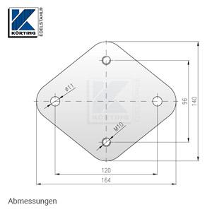 Edelstahl Ankerplatte 164x140x8 mm - Abmessungen