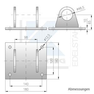 Edelstahl Ankerplatte zur unterseitigen Montage - Abmessungen